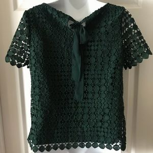 Talbots Tops - RSVP by Talbots Hunter Green Lace Blouse Size P